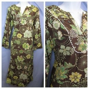 ff6edf5fc3 Go Softly Brown Floral Patio Dress Beaded Cotton M
